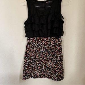 TSEGA black mini fitted ruffle floral dress M/L
